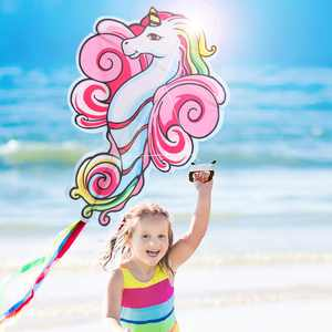 ZaxiDeel Large Unicorn Kite for Kids and Adults, 41 inches Unicorn Shape Diamond Kite Toy Great for Beginners and Outdoor, Beach, and Park Play, Easy Flying Rainbow Kites with Durable Ripstop Fabric