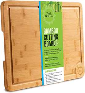 Extra Large Bamboo Kitchen Cutting Board by Fresh Nest Co. | XL 16 x 12 Wood Cutting Board with Handle | Thick Wooden Cutting Board with Juice Groove made with Organic Sustainable and Durable Bamboo