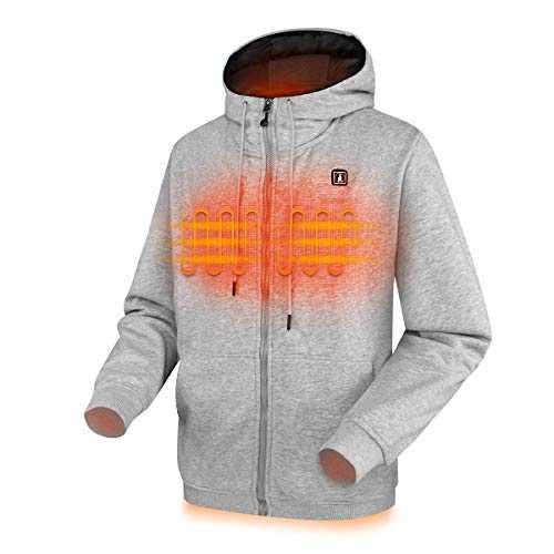 CLIMIX Heated Hoodie for Men Women, Lightweight Heated Sweatshirt with Battery Pack (Unisex) (M, Grey)