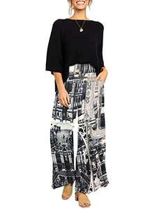 Ofenbuy Womens Print Wide Leg Palazzo Pants Elastic High Waist Casual Summer Flowy Lounge Trousers with Pockets Black
