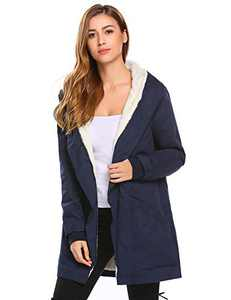 Misakia Womens Winter Fashion Outdoor Warm Wool Blended Classic Pea Coat Jacket (Navy Blue M)