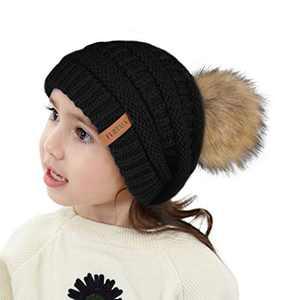 FURTALK Kids Girls Boys Winter Knit Beanie Hats Faux Fur Pom Pom Hat Bobble Ski Cap Toddler Baby Hats 3-8 Years Old