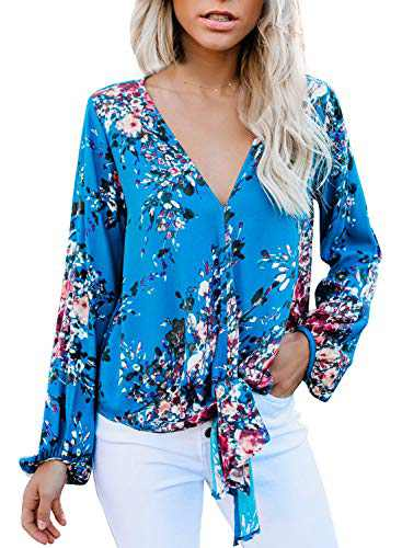 Actloe Women Boho Tops Floral Print Long Sleeve Tops V Neck Casual Loose Womens Tops and Blouses M Floral Blue