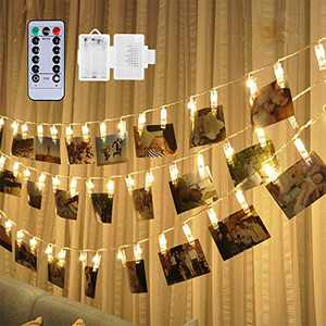 Weepong 50 LED Photo Clips String Lights Holder, Picture Hanging Lights with Remote and Timer 17.3ft Battery Powered Fairy String Lights for Halloween Christmas Decoration Teen Girls Gift (8 Modes)