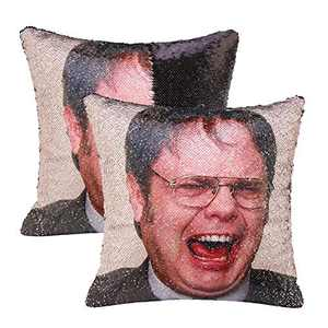 cygnus The Office Dwight Schrute Sequin Pillow Cover Funny Gag Gifts Magic Reversible Home Decorative Cushion Cover 16x16(Black,type1)