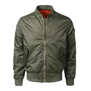 Boyland Men's Relaxed Fit Lightweight Bomber Jacket Full Zip Varsity Jackets Coat Green
