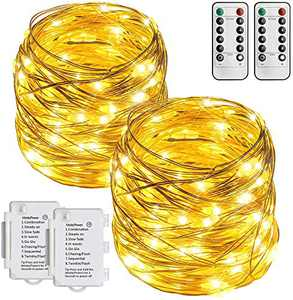 STARKER 2 Pack 32 Ft 100 LED Outdoor Fairy Lights Battery Powered String Lights, IP65 Waterproof Silver Wire Twinkle Lights for Bedroom, Garden, Gate, Xmas Decoration (8 Modes, Dimmable,Remote, Timer)
