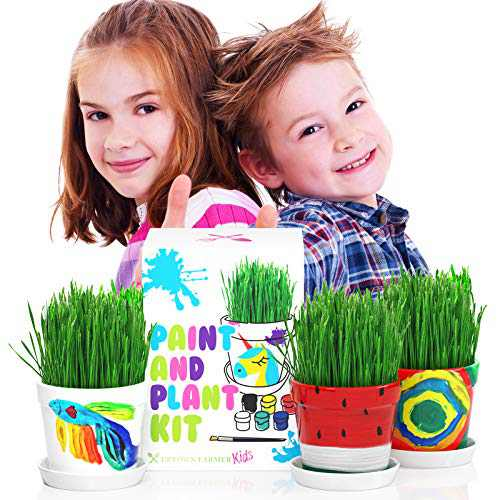 Kids Gardening Set - Kids Gardening Kit - Art and Craft Sets for Girls Ages 5-8 - Paint and Plant Flower Growing Kit - Flower Craft Kits for Kid - Pot Painting For Boys - Birthday Gift 7 Year Old Girl