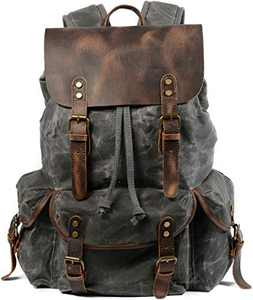 HuaChen Travel Leather Waxed Canvas Backpack,Men's Vintage Laptop School Bag Daypack Large (M80_Grey)