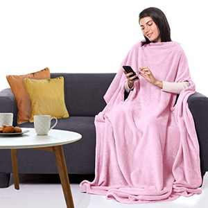 """CANDY CANE Premium TV Fleece Blanket 70""""x50"""" with Three Holes - Super Soft, Wearable, Lightweight, Microplush, Cozy and Functional Throw Blanket for Adult, Women and Men (Bunny Pink)"""