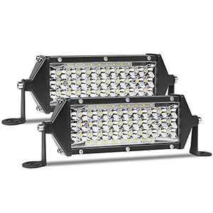 Zmoon 7 inch LED Light Bar with 102PCS Led, 300W Spot & Flood Combo Beam Waterproof Offroad Driving Fog Lights for ATV UTV Trucks Tractor Boats SUV, 12V/24V (2 Pack)