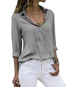 Yidarton Women's Long Sleeve V Neck Chiffon Blouses Tops Button Down Business Shirts(Gray,L)