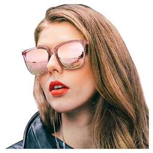 SIPHEW Womens Mirrored Sunglasses Polarized-Fashion Oversized Eyewear with UV400 Protection for Outdoor (Pink Frame, Pink Mirrored Lens)