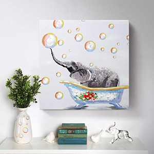 Elephant Wall Art for Kids Room Bathroom Hand-Painted Cute Small Animal Oil Painting Colorful Funny Canvas Artwork Framed Creative Picture Modern Home Bedroom Decoration 20x20inch