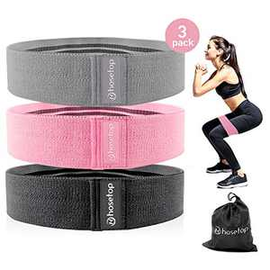 Booty Bands, 3 Fabric Resistance Bands, Exercise Fitness Bands for Legs and Butt, Non Slip Strength Squat Bands for Women, Loop Workout Bands Hip Thigh Glute Bands Gym Workout