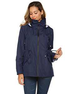Women Athletic Rain Jacket Active Outdoor Waterproof Line Raincoat (Navy Blue,2X
