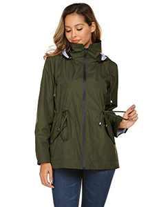 Avoogue Rain Jacket Women Outdoor Travel Windbreaker Waterproof Sports Raincoat (Army Green,XXL