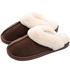 SUSHAN Womens Slippers Soft Plush Warm House Shoes Anti-Slip Fluffy Fur Indoor/Outdoor Slippers Brown 40-41