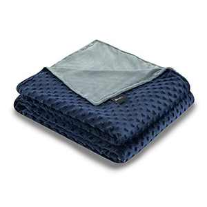 ZonLi 41''x60'' Grey/Navy Minky Dot Duvet Cover, Removable Duvet Cover for Weighted Blanket