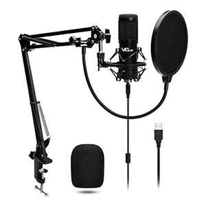 USB Microphone, VeGue Computer Condenser Microphone with Boom Arm Stand Shock Mount Pop Filter, 192KHZ/24Bit, Ideal for Podcast, Live Streaming, Recording, Gaming (VG-016)