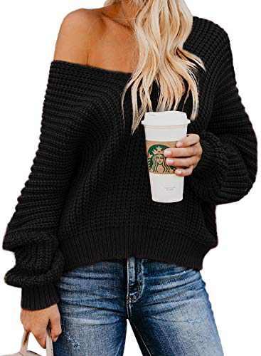 Bdcoco Women's Off Shoulder V Neck Knit Sweater Solid Pullover Jumper Tops