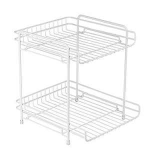 LOTTS 2-Tier Standing Storage Rack Sturdy Solid Kitchen Spice Rack Bathroom Countertop Storage Organizer Shelf Holder (White)
