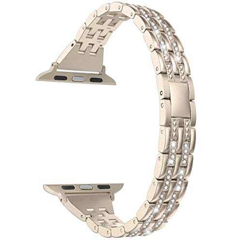 hooroor Bling Band Compatible with Apple Watch Bands 38mm 40mm/42mm 44mm, Upgraded Version Slim Stainless Bracelet Replacement iWatch Strap for Apple Watch Series 6 SE / 5/4/3/2/1(Champagne Gold,38mm/40mm)