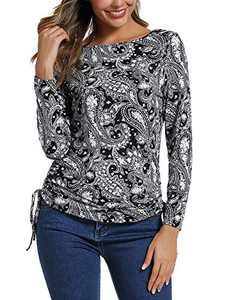 Women's Long Sleeve Boat Neck Drawstring Floral Tops (S, 2)