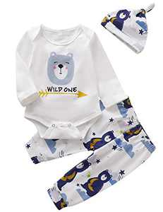Shalofer Baby Boys Wild One Animals Outfit First Birthday Cartoon Bear Clothes Set (Blue,6-12 Months)