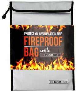 "Fireproof Document Bag Legal Size: 11"" x 15"" Fire Proof Bag with Waterproof Coating to Protect Important Documents from Fire, Bug Out Bags"