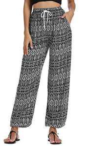 EXCHIC Women's Yoga Harem Pants Boho Pants Floral Printed Hippie Pants (S, 1)