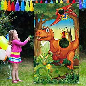 Dinosaur Party Supplies Birthday Decorations Dinosaur Party Supplies Dinosaur Toss Games with 3 Green Nylon Bean Bags Fun Bean Bag Game Sets for Teenagers Dinosaur Party Favors Dinosaur Party