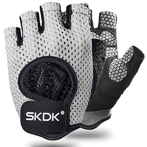 Ventilate Workout Gloves Fitness Gloves with Wrist Support Belt, Shock-Absorbing Foam Pad Palm,Man/Women Breathable Gym Gloves for Fitness,Bodybuilding,Crossfit Exercise Gloves (Gray, XL)