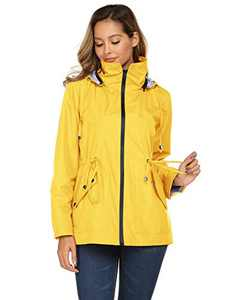 Avoogue Women Rain Jacket Belted Hooded Long Lightweight Packable Outerwear(Yellow,S)