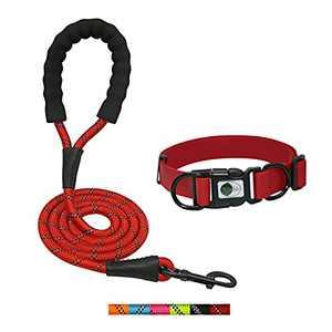 NIMBLE Dog Collar and Leash Set, Heavy Duty Reflective Dog Leash and Waterproof Dog Training Collar for Medium Large Dogs