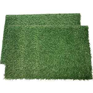 "LOOBANI Dog Grass Pee Pads, Artificial Turf Pet Grass Mat Replacement for Puppy Potty Trainer Indoor/Outdoor Use - Set of 2 (18""x28"")"