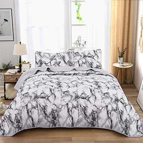 Marble Quilt Set Queen, White Grey Marble Pattern Printed Bedding Bedspread Set Coverlet with 2 Pillowcases for All Seasons, Soft Microfiber Bedding Set 90x90 inches