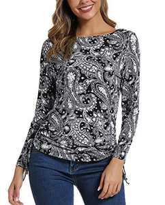 Women's Long Sleeve Boat Neck Drawstring Floral Tops (M, 2)