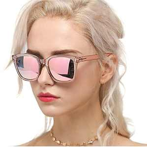 Myiaur Classic Sunglasses for Women Polarized Driving Anti Glare 100% UV Protection (Pink Frame / Pink Mirrored Glasses)