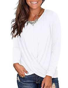 Kimiee Women's Casual Round Neck Long Sleeve T Shirts Twist Front Tunic Tops (z3 White, L)