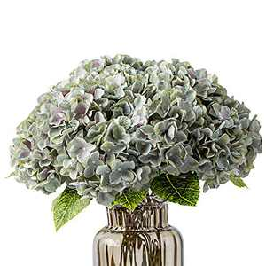 Kimura's Cabin Fake Flowers Vintage Artificial Silk Hydrangea Flowers Bouquets Arrangement 5 Heads with Stems for Home Table Centerpieces Wedding Party Decoration (Grey Green)