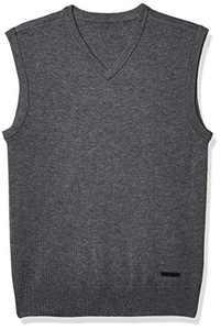 BRUCERIVER Men's Wool Blend V-Neck Pullover Knit Sweater Vest Size L (Grey)