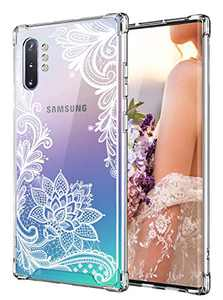 Cutebe Case for Galaxy Note 10 Plus,Shockproof Series Hard PC+ TPU Bumper Protective Cover for Samsung Galaxy Note 10 Plus/5G 2019 Release Crystal Lace Design
