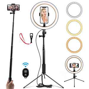 "10.2"" Selfie Ring Light with Stand (14.56'' to 65'') & Phone Holder 3 Modes & 10 Brightness LED Ring Light for YouTube Video/Live Stream/Makeup/Photography Remote Control Compatible with iOS/Android"