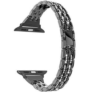hooroor Bling Band Compatible with Apple Watch Bands 38mm 40mm/42mm 44mm, Upgraded Version Slim Stainless Steel Bracelet Replacement iWatch Strap for Apple Watch Series 6 SE/5/4/3/2/1(Black, 42mm/44mm)