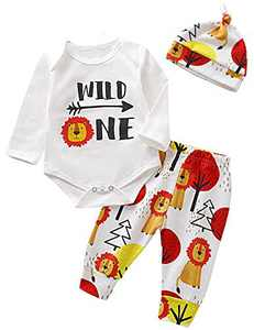Shalofer Baby Boys Wild One Animals Outfit First Birthday Cartoon Lion Clothes Set (White,12-18 Months)