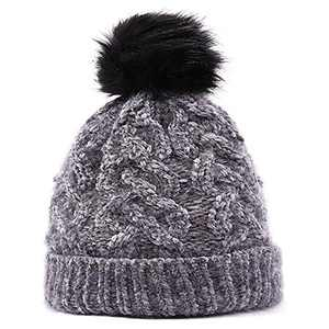 Womens Winter Hat , Winter Fleece Knit Hat, Warm Snow Ski Skull Cap for Girl's (Grey)