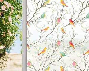 Coavas Privacy Window Film Opaque Non-Adhesive Frosted Bird Window Film Decorative Static Cling Film Bird Window Stickers for GF-WF-75-2WB Home Office 29.5In. by 78.7In. (75 x 200Cm),White …
