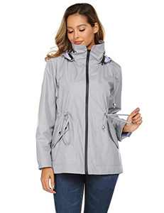Spring Rain Slicker Double Layer Waterproof Stylish Hooded Casual Jacket (Grey,M)