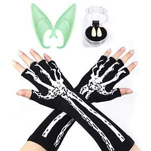 SIBOSUN 3 Pairs Skull Skeleton Gloves Vampire Teeth Elf Ears Halloween Cosplay Black